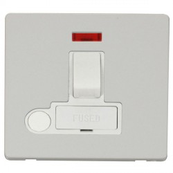 Click Definity Flat Plate Screwless 13A Polar White Fused Switched Connection Unit with Flex Outlet and Neon with Polar White Cover Plate