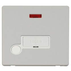 Click Definity Flat Plate Screwless 13A Polar White Fused Connection Unit with Flex Outlet and Neon with Polar White Cover Plate