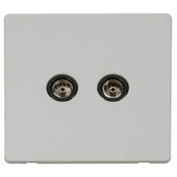 Click Definity Flat Plate Screwless Twin Standard Black Coaxial Socket with Polar White Cover Plate