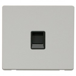 Click Definity Flat Plate Screwless Single Black RJ11 Socket with Polar White Cover Plate