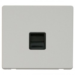 Click Definity Flat Plate Screwless Single Black Telephone Master Outlet with Polar White Cover Plate