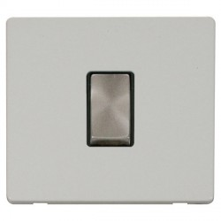 Click Definity Flat Plate Screwless 10AX 1 Gang 2 Way Black Insert with Brushed Steel Switch with Polar White Cover Plate