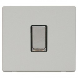 Click Definity Flat Plate Screwless 10AX 1 Gang 2 Way Black Insert with Polished Chrome Switch with Polar White Cover Plate
