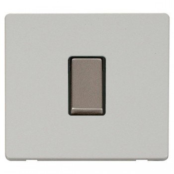 Click Definity Flat Plate Screwless 10AX 1 Gang 2 Way Black Insert with Stainless Steel Switch with Polar White Cover Plate