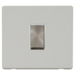 Click Definity Flat Plate Screwless 10AX 1 Gang 2 Way Polar White Insert with Brushed Steel Switch with Polar White Cover Plate