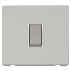 Click Definity Flat Plate Screwless 10AX 1 Gang 2 Way Polar White Insert with Polished Chrome Switch with...