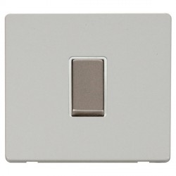 Click Definity Flat Plate Screwless 10AX 1 Gang 2 Way Polar White Insert with Stainless Steel Switch with Polar White Cover Plate