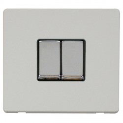 Click Definity Flat Plate Screwless 10AX 2 Gang 2 Way Black Insert with Polished Chrome Switch with Polar...