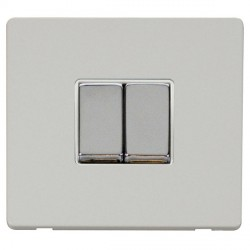 Click Definity Flat Plate Screwless 10AX 2 Gang 2 Way Polar White Insert with Polished Chrome Switch with...
