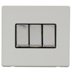 Click Definity Flat Plate Screwless 10AX 3 Gang 2 Way Black Insert with Polished Chrome Switch with Polar...