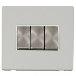 Click Definity Flat Plate Screwless 10AX 3 Gang 2 Way Polar White Insert with Brushed Steel Switch with P...