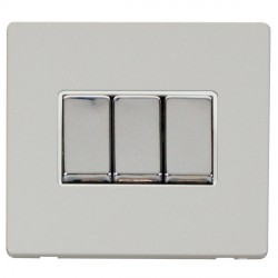 Click Definity Flat Plate Screwless 10AX 3 Gang 2 Way Polar White Insert with Polished Chrome Switch with...