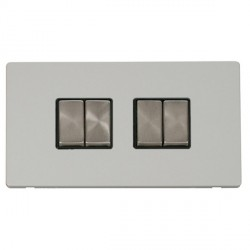 Click Definity Flat Plate Screwless 10AX 4 Gang 2 Way (2 x 2) Black Insert with Brushed Steel Switch with...