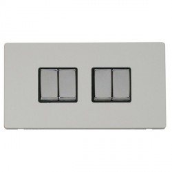 Click Definity Flat Plate Screwless 10AX 4 Gang 2 Way (2 x 2) Black Insert with Polished Chrome Switch wi...