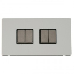 Click Definity Flat Plate Screwless 10AX 4 Gang 2 Way (2 x 2) Black Insert with Stainless Steel Switch wi...