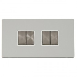 Click Definity Flat Plate Screwless 10AX 4 Gang 2 Way (2 x 2) Polar White Insert with Brushed Steel Switc...
