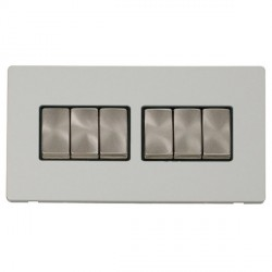 Click Definity Flat Plate Screwless 10AX 6 Gang 2 Way (2 x 3) Black Insert with Brushed Steel Switch with...