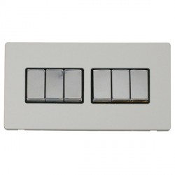 Click Definity Flat Plate Screwless 10AX 6 Gang 2 Way (2 x 3) Black Insert with Polished Chrome Switch wi...