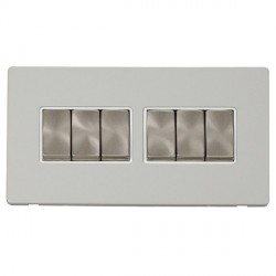 Click Definity Flat Plate Screwless 10AX 6 Gang 2 Way (2 x 3) Polar White Insert with Brushed Steel Switc...