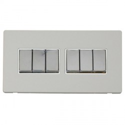 Click Definity Flat Plate Screwless 10AX 6 Gang 2 Way (2 x 3) Polar White Insert with Polished Chrome Swi...