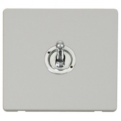 Click Definity Flat Plate Screwless 10AX 1 Gang Polished Chrome Intermediate Toggle Switch with Polar White Cover Plate