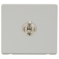 Click Definity Flat Plate Screwless 10AX 1 Gang Pearl Nickel Intermediate Toggle Switch with Polar White Cover Plate