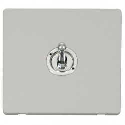 Click Definity Flat Plate Screwless 10AX 1 Gang 2 Way Polished Chrome Toggle Switch with Polar White Cover Plate