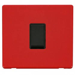 Click Definity Flat Plate Screwless 10AX 1 Gang 2 Way Black Switch with Red Cover Plate