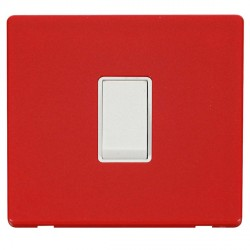 Click Definity Flat Plate Screwless 10AX 1 Gang 2 Way Polar White Switch with Red Cover Plate