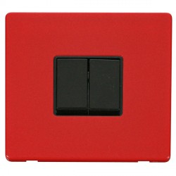 Click Definity Flat Plate Screwless 10AX 2 Gang 2 Way Black Switch with Red Cover Plate