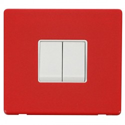 Click Definity Flat Plate Screwless 10AX 2 Gang 2 Way Polar White Switch with Red Cover Plate