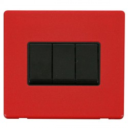 Click Definity Flat Plate Screwless 10AX 3 Gang 2 Way Black Switch with Red Cover Plate