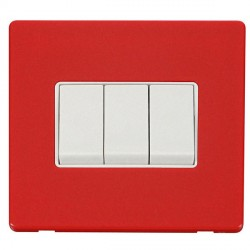 Click Definity Flat Plate Screwless 10AX 3 Gang 2 Way Polar White Switch with Red Cover Plate