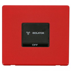 Click Definity Flat Plate Screwless 10A 3 Pole Fan Isolation Black Switch with Red Cover Plate