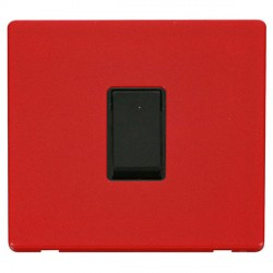Click Definity Flat Plate Screwless 10AX 1 Gang Intermediate Black Switch with Red Cover Plate