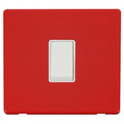 Click Definity Flat Plate Screwless 10AX 1 Gang Intermediate Polar White Switch with Red Cover Plate