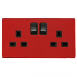 Click Definity Flat Plate Screwless 2 Gang UK 13A Black Switched Socket with Red Cover Plate