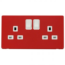 Click Definity Flat Plate Screwless 2 Gang UK 13A Polar White Switched Socket with Red Cover Plate
