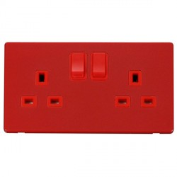 Click Definity Flat Plate Screwless 2 Gang UK 13A Red Switched Socket with Red Cover Plate