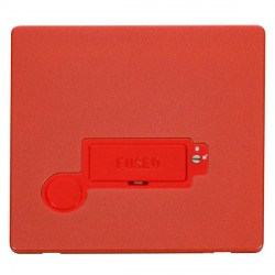 Click Definity Flat Plate Screwless Lockable 3A Fused Connection Unit with Flex Outlet in Red with Red Cover Plate