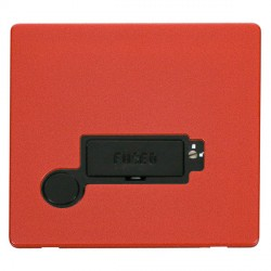 Click Definity Flat Plate Screwless Lockable 13A Fused Connection Unit with Flex Outlet in Black with Red Cover Plate
