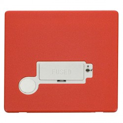 Click Definity Flat Plate Screwless Lockable 13A Fused Connection Unit with Flex Outlet in Polar White with Red Cover Plate