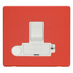 Click Definity Flat Plate Screwless Lockable 13A Switched Fused Connection Unit with Flex Outlet in Polar White with Red Cover Plate