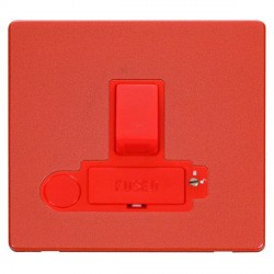 Click Definity Flat Plate Screwless 3A Double Pole Switched Fused Connection Unit with Flex Outlet in Red with Red Cover Plate