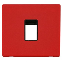 Click Definity Flat Plate Screwless Black Single Plate Single Aperture Insert with Red Cover Plate