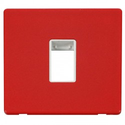 Click Definity Flat Plate Screwless Polar White Single Plate Single Aperture Insert with Red Cover Plate