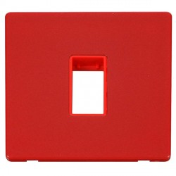 Click Definity Flat Plate Screwless Red Single Plate Single Aperture Insert with Red Cover Plate