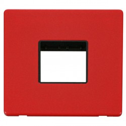 Click Definity Flat Plate Screwless Black Single Plate Twin Aperture Insert with Red Cover Plate