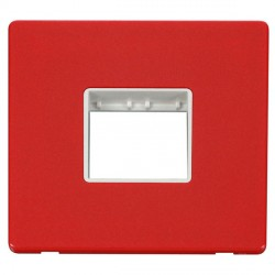 Click Definity Flat Plate Screwless Polar White Single Plate Twin Aperture Insert with Red Cover Plate