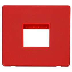 Click Definity Flat Plate Screwless Red Single Plate Twin Aperture Insert with Red Cover Plate